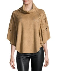 Alberto Makali Laser Cut Faux Suede Poncho Camel
