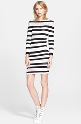 Alexander Mcqueen Stripe Knit Pencil Dress Ivory Black