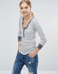 Abercrombie And Fitch Henley Stripe Top White Stripe Multi