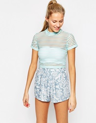 Motel Leda Turtleneck Crop Top In Stripe Net Mint