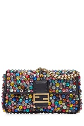 Fendi Embellished Leather Micro Baguette Shoulder Bag Multicolor