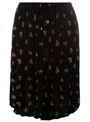 Evans Plus Size Heart Print Midi Skirt Black