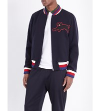 Gucci Panther Applique Wool Blend Jacket Blue Japan Red