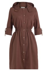 Marina Hoermanseder Silk Coat With Hood And Leather Details Brown