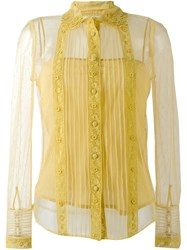 Red Valentino Embroidered Semi Sheer Shirt Yellow And Orange