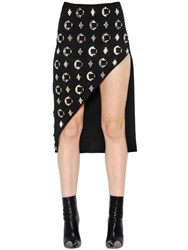 David Koma Embellished Asymmetric Wool Crepe Skirt