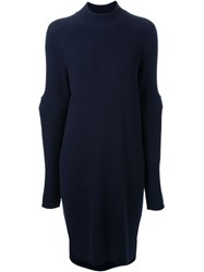 Muveil Ribbed Knit Dress Blue