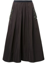 Muveil Floral Applique Pleated Skirt Brown