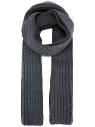 Neil Barrett Ribbed Knit Scarf Grey