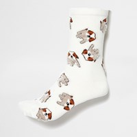 River Island Womens White Dog Print Socks