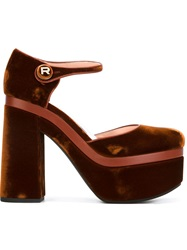 Rochas Platform Chunky Heel Pumps Brown