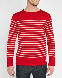 Armor Lux Red Mercerised Long Sleeve Sailor Stripe Top