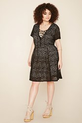 Forever 21 Plus Size Crochet Lace Up Dress