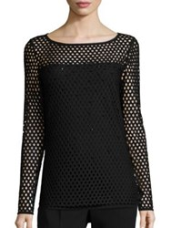 Escada Sparkle Net Overlay Knit Pullover Black