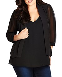 City Chic Chiffon Sleeve Blazer Black