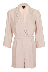 Topshop Tall Tailored Wrap Playsuit Pale Pink