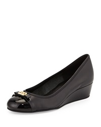 Cole Haan Elsie Patent Cap Toe Wedge Pump Black