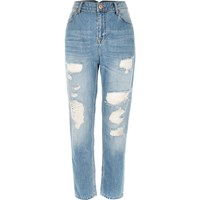 River Island Womens Mid Blue Wash Ripped Mom Jeans