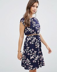 Yumi Cap Sleeve Belted Dress In Butterfly Print Navy