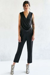 Silence And Noise Silence Noise Slinky Side Gathered Knit Jumpsuit Black