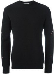 Givenchy Leather Panel Sweater Black