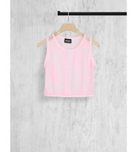 Hot Mess Cropped Mesh Top Pink Mist