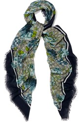 Gucci Printed Modal And Silk Blend Scarf Blue