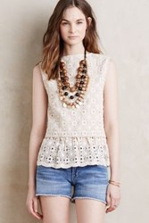 Anthropologie Ruffled Lace Shell Sand