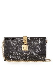 Dolce And Gabbana Lace Plexiglass Clutch Black