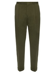 Paul Smith Pleated Front Cotton Trousers Khaki