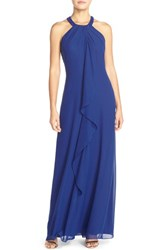 Women's London Times Beaded Neck Chiffon Gown