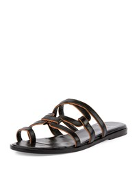 Pierre Hardy Kaliste Leather Toe Ring Flat Sandal Black Tan
