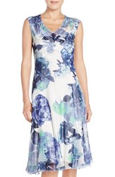 Women's Komarov Sleeveless Floral Chiffon A Line Dress