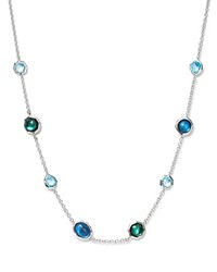 Ippolita Sterling Silver Rock Candy Wonderland Mini Gelato Short Station Necklace In Merino 16 Silver Blue