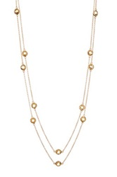 Candela 18K Yellow Gold Plated Sterling Silver Citrine Multi Station Double Strand Necklace