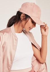 Missguided Baseball Cap Faux Suede Pink