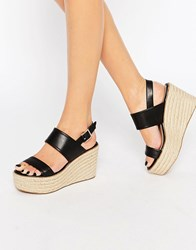 Aldo Scarantino Platform Espadrille Wedges Black Leather