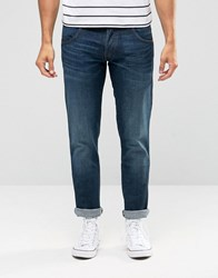 Wrangler Low Rise Slim Leg Jean In Drizzle Green Wash Blue