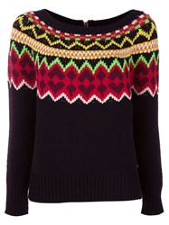 Twin Set Fair Isle Knit Jumper Black