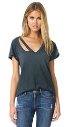 Lna Distressed Fallon V Neck Tee Distressed Black