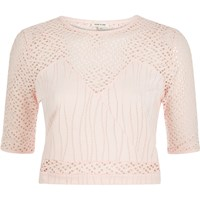 River Island Womens Light Pink Embroidered Mesh Crop Top