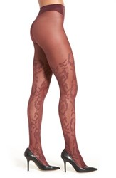 Oroblu Women's 'Lorelie' Floral Tights Bordeaux