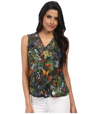 Yumi Woodland Creatures Printed Top W Cross Over Drape Detail Multi Colour Women's Sleeveless