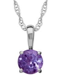 Macy's Amethyst Round Pendant Necklace In 14K White Gold 2 5 Ct. T.W. No Color