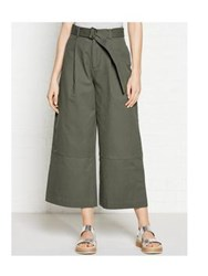 Whistles Cropped Wide Leg Trousers Khaki