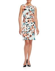 Ivanka Trump Floral Popover Dress Glass Coral
