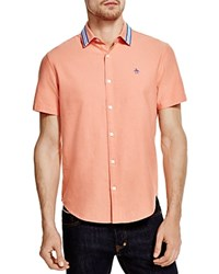 Penguin Original Brushed Oxford Short Sleeve Button Down Shirt With Stripe Collar 100 Bloomingdale's Exclusive Spiced