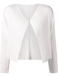 Pleats Please By Issey Miyake Crepe Cardigan White