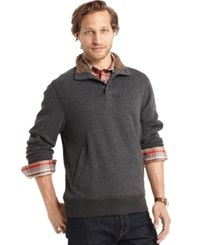 G.H. Bass And Co. Sueded Sherpa Lined Mock Neck Fleece Black Heather