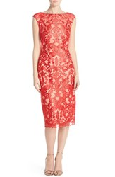 Women's Vince Camuto Embroidered Mesh Overlay Midi Dress